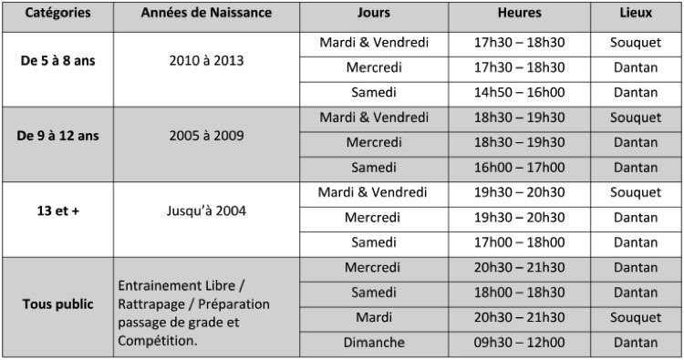 Horaires AS Mantaise Karaté 2018-2019